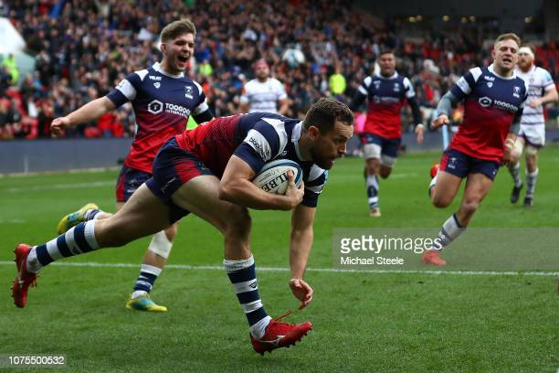 Luke Morahan of Bristol scores a try during the Gallagher Premiership Rugby match between Bristol Bears and Leicester Tigers at Ashton Gate on...