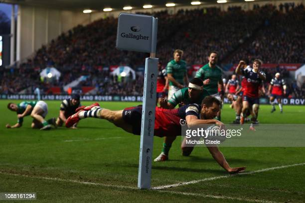 Luke Morahan of Bristol scores his sides third try despite the challenge from Josh Matavesi of Newcastle during the Gallagher Premiership Rugby match...