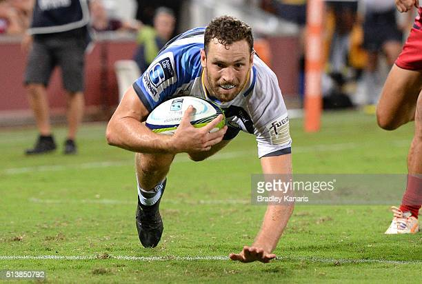 Luke Morahan of the Force scores a try during the round two Super Rugby match between the Reds and the Force at Suncorp Stadium on March 5 2016 in...