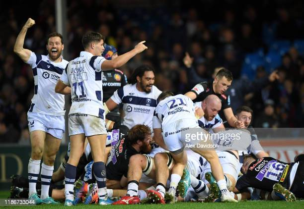 Luke Morahan Piers O'Conor and Chris Vui celebrate Dan Thomas' try and victory during the Gallagher Premiership Rugby match between Exeter Chiefs and...