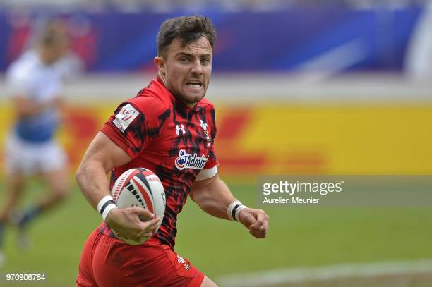 Luke Morgan of Wales scores a try during the match between France and Wales at the HSBC Paris Sevens stage of the Rugby Sevens World Series at Stade...