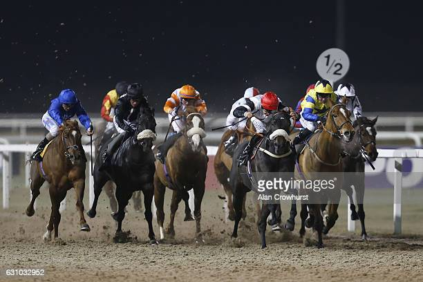 Luke Morris riding Hakam win The totepool Betting On All UK Racing Handicap Stakes at Chelmsford racecourse on January 5 2017 in Chelmsford England