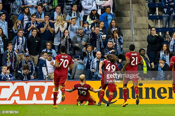 Luke Mulholland of Real Salt Lake celebrates after scoring the second goal of the game against Sporting Kansas City in the second half on April 2...
