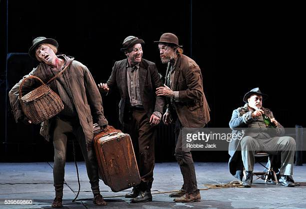 Luke Mullins as LuckyRichard Roxburgh as Estragon Hugo Weaving as Vladimir and Phillip Quast as Pozzo in Sydney Theatre Company's production of...
