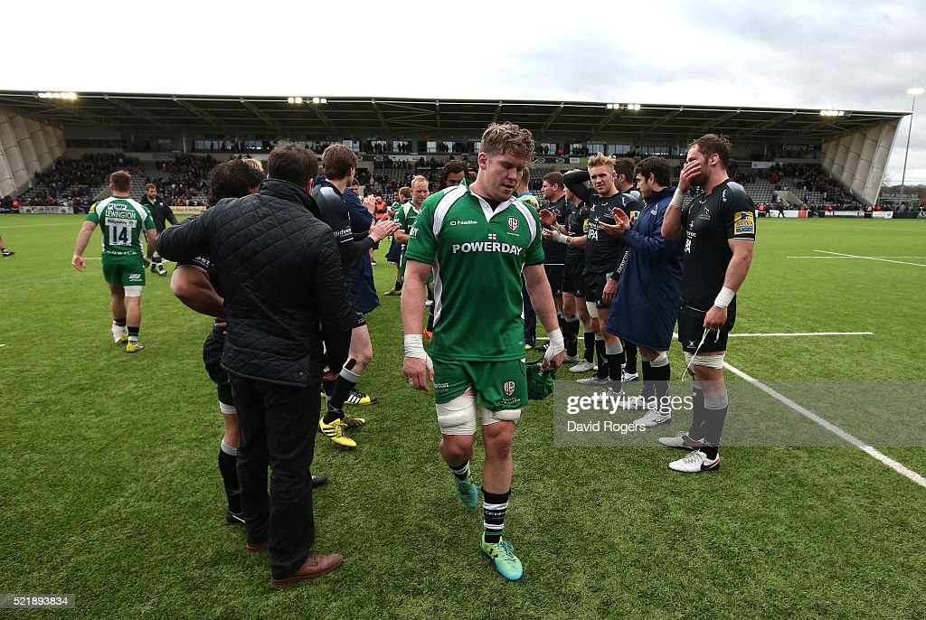 Luke Narraway, the London Irish captain leads his team off the pitch after their defeat during the Aviva Premiership match between Newcastle Falcons and London Irish at Kingston Park on April 17, 2016 in Newcastle upon Tyne, England.