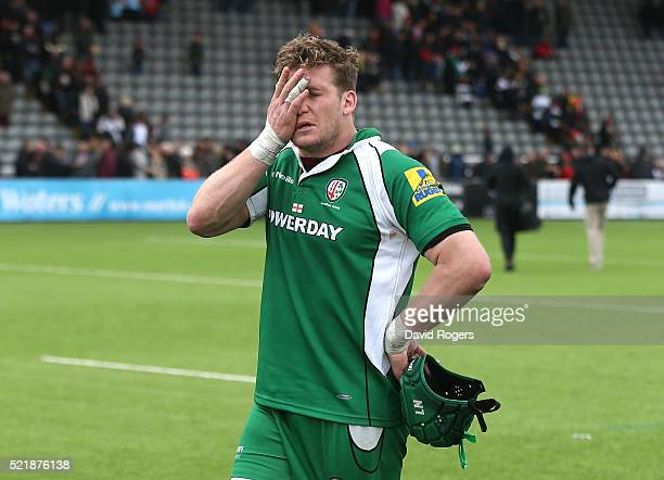 Luke Narraway the London Irish captain looks dejected after their defeat during the Aviva Premiership match between Newcastle Falcons and London...