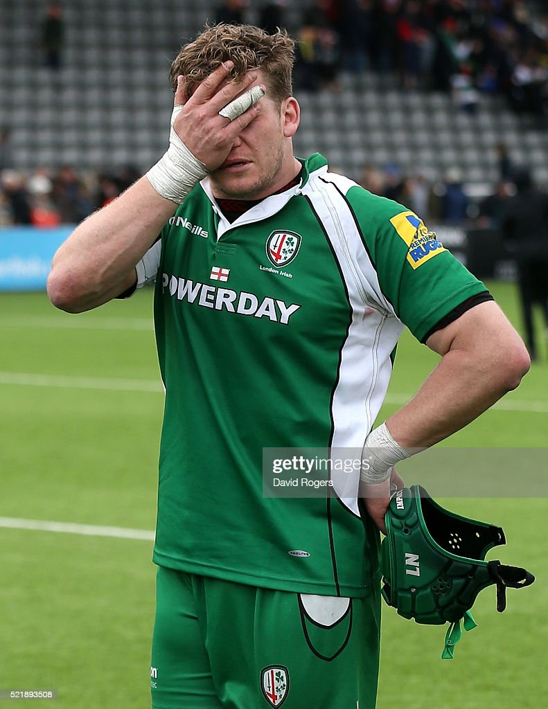 Luke Narraway, the London Irish captain looks dejected after their defeat during the Aviva Premiership match between Newcastle Falcons and London Irish at Kingston Park on April 17, 2016 in Newcastle upon Tyne, England.