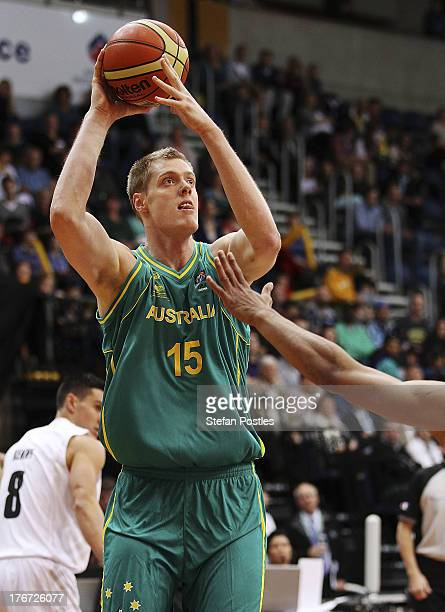 Luke Nevill of the Boomers shapes to shoot during the Men's FIBA Oceania Championship match between the Australian Boomers and the New Zealand Tall...