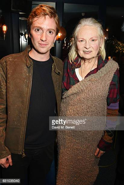 Luke Newberry and Dame Vivienne Westwood attend a drinks reception hosted by Dame Vivienne Westwood and The British Fashion Council to celebrate...