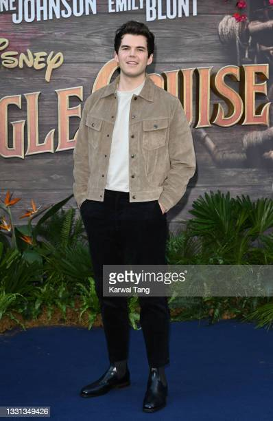 """Luke Newton attends Disney's """"Jungle Cruise"""" UK premiere at Cineworld Leicester Square on July 29, 2021 in London, England."""