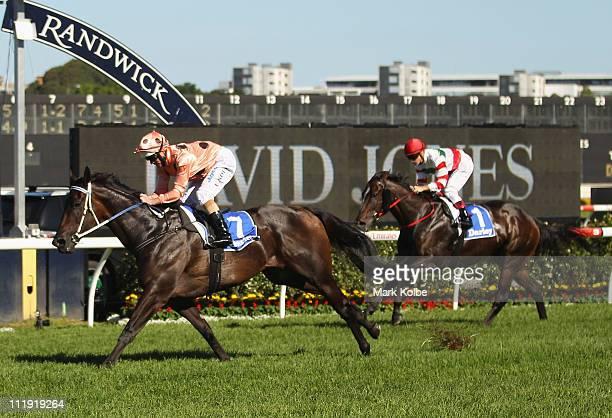Luke Nolan riding Black Caviar wins race five the Darley T J Smith Stakes on AJC Australian Derby Day at Royal Randwick Racecourse on April 9 2011 in...