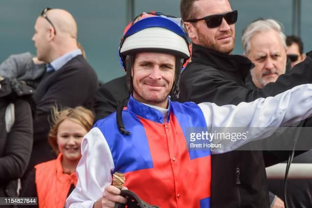 Luke Nolen after winning the Ladbrokes Odds Boost Handicap at Ladbrokes Park Hillside Racecourse on July 10 2019 in Springvale Australia