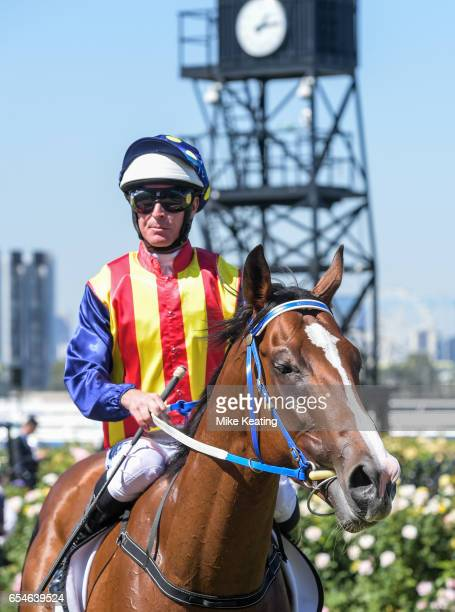 Luke Nolen returns to the mounting yard aboard Theanswermyfriend after winning the VRC Thanks Greg Miles Trophy at Flemington Racecourse on March 18...