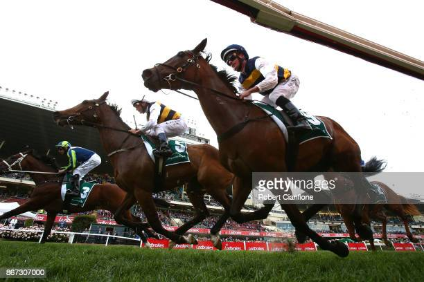 Luke Nolen rides Aloisia to victory in race ten the Drummond Golf Vase during Cox Plate Day at Moonee Valley Racecourse on October 28 2017 in...
