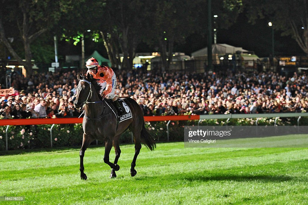Luke Nolen riding Black Caviar heads to the start before winning her 24th straight win in the Hacer Group William Reid Stakes during Melbourne racing at Moonee Valley Racecourse on March 22, 2013 in Melbourne, Australia.