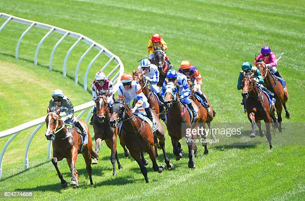 Luke Nolen riding Despatch turns into the home straight before winning Race 4 Magic Million 2yo Clockwise Classic during Ballarat Cup day at Ballarat...