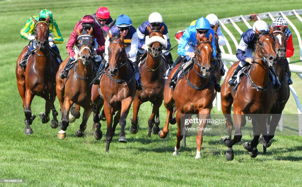 Luke Nolen riding Duke of Ellington (3 L) winning Race 6 during Melbourne Racing at Flemington Racecourse on March 18, 2017 in Melbourne, Australia.