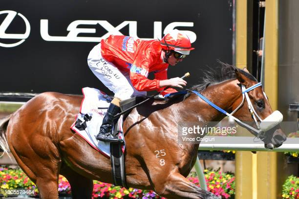 Luke Nolen riding Lightsaber winning Race 4, the Mss Security Sires' Produce Stakes, during Melbourne Racing at Flemington Racecourse on March 06,...