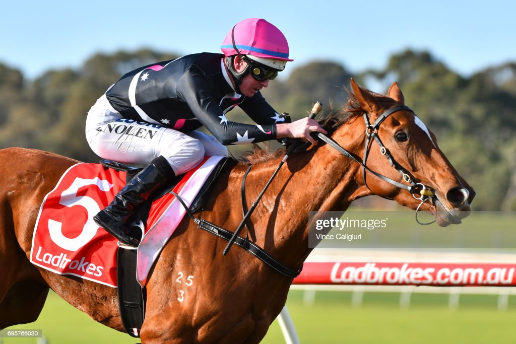 Luke Nolen riding Ruby Sea winning Race 4 during Melbourne Racing at Sandown Hillside on June 14, 2017 in Melbourne, Australia.
