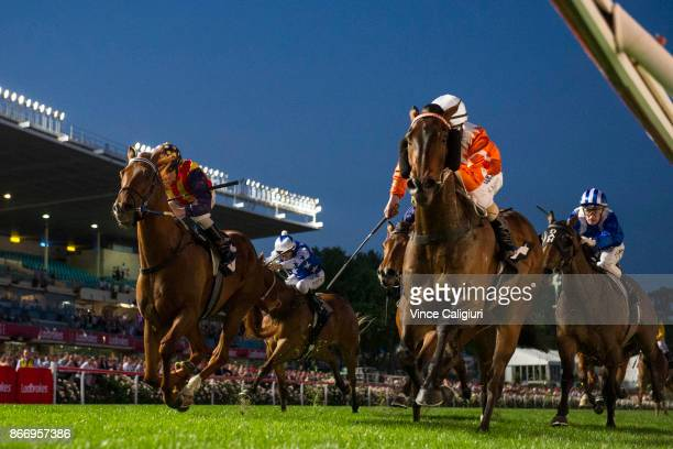 Luke Nolen riding Sam's Image wins Race 4 during Manikato Stakes Night at Moonee Valley Racecourse on October 27 2017 in Melbourne Australia
