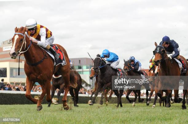Luke Nolen riding Thinking of You wins Race 4 during the Underwood Stakes Day at Caulfield Racecourse on September 20 2014 in Melbourne Australia