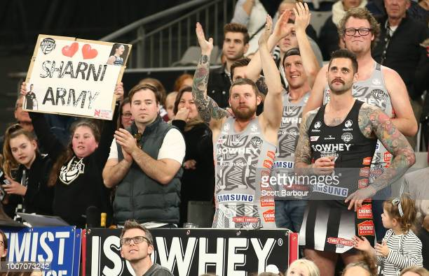 Luke Norder boyfriend of Sharni Layton of the Magpies shows his support in the crowd during the round 13 Super Rugby match between the Magpies and...