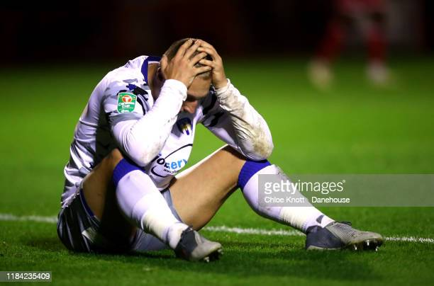Luke Norris of Colchester United reacts during the Carabao Cup Round of 16 match between Crawley Town and Colchester United FC at The Peoples Pension...