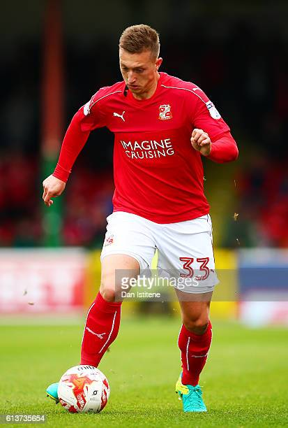 Luke Norris of Swindon Town in action during the Sky Bet League One match between Swindon Town and Bolton Wanderers at County Ground on October 8...