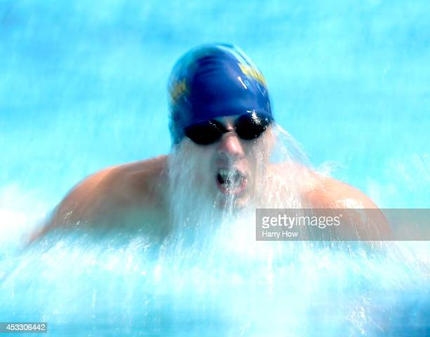 Luke Nosbisch swims in the Men's 200 Meter Breaststroke Prelims during the 2014 Phillips 66 National Championships at the Woollett Aquatic Center on...
