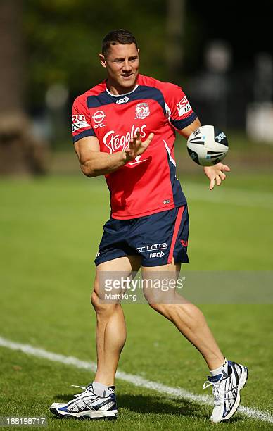 Luke O'Donnell catches the ball during a Sydney Roosters NRL training session at Kippax Lake on May 7 2013 in Sydney Australia