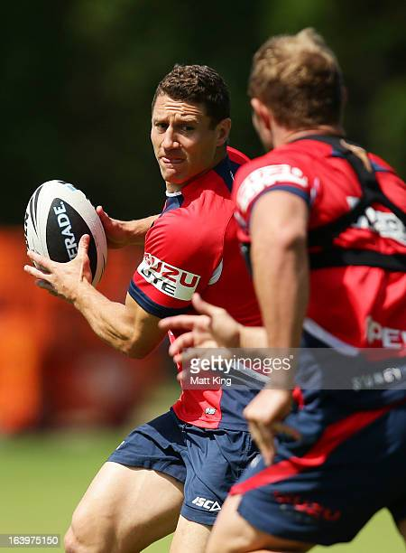 Luke O'Donnell runs with the ball during a Sydney Roosters NRL training session at Moore Park on March 19 2013 in Sydney Australia