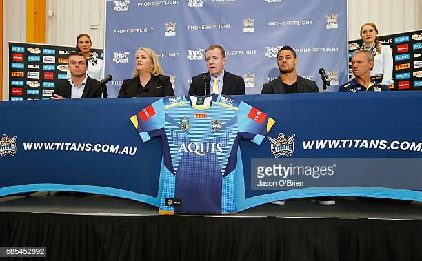 Luke O'Dwyer Rebecca Frizelle Jarryd Hayne Titans CEO Graham Annesley Neil Henry during a press conference at Gold Coast Airport on August 3 2016 in...