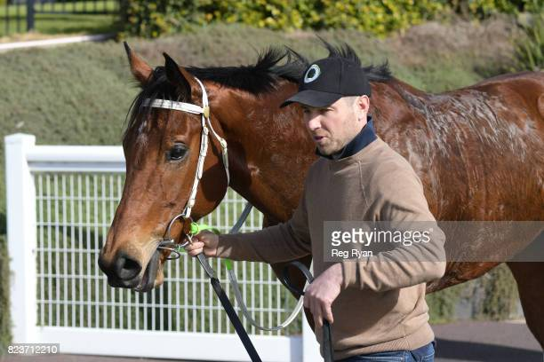 Luke Oliver and Surprise Hero after their win in the Sargeants Conveyancing Geelong Maiden Plate at Geelong Synthetic Racecourse on July 28 2017 in...