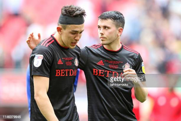 Luke O'Nien and Lewis Morgan of Sunderland after the final whistle during the Sky Bet League One Play-off Final match between Charlton Athletic and...