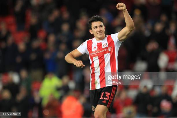 Luke O'Nien celebrates at the end of the Sky Bet League 1 match between Sunderland and Tranmere Rovers at the Stadium Of Light Sunderland on Tuesday...