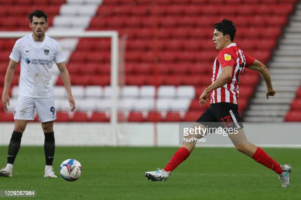 Luke O'Nien of Sunderland during the Sky Bet League 1 match between Sunderland and Portsmouth at the Stadium Of Light Sunderland on Saturday 24th...