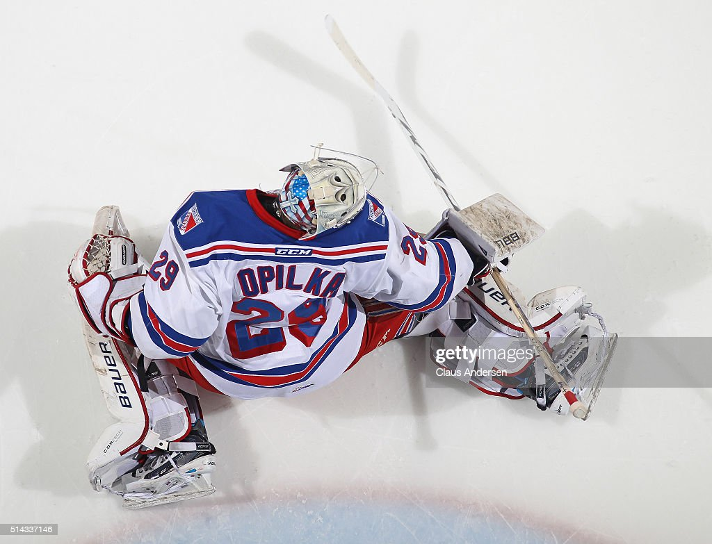 Luke Opilka #29 of the Kitchener Rangers stops a shot in the warm-up prior to play against the London Knights during an OHL game at Budweiser Gardens on March 6, 2016 in London, Ontario, Canada. The Knights defeated the Rangers 4-1.