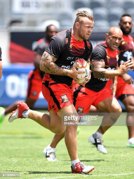 Luke Page runs with the ball during a PNG Kumuls Rugby League World Cup captain's run on November 11 2017 in Port Moresby Papua New Guinea