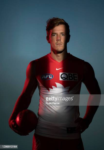 Luke Parker of the Swans poses during a portrait session at the Sydney Swans 2021 AFL media day at Sydney Cricket Ground on February 02, 2021 in...
