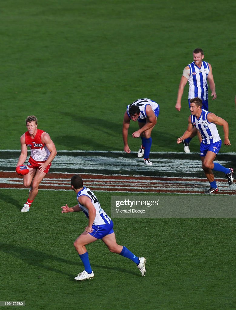 Luke Parker of the Swans runs away with the ball during the round three AFL match between the North Melbourne Kangaroos and the Sydney Swans at Blundstone Arena on April 13, 2013 in Hobart, Australia.