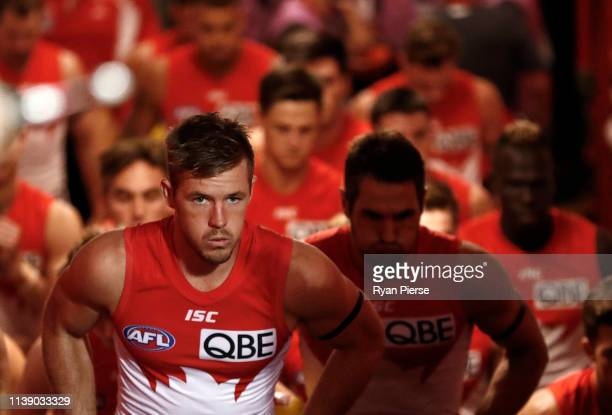Luke Parker of the Swans walks out onto the field during the round two AFL match between the Sydney Swans and the Adelaide Crows at Sydney Cricket...