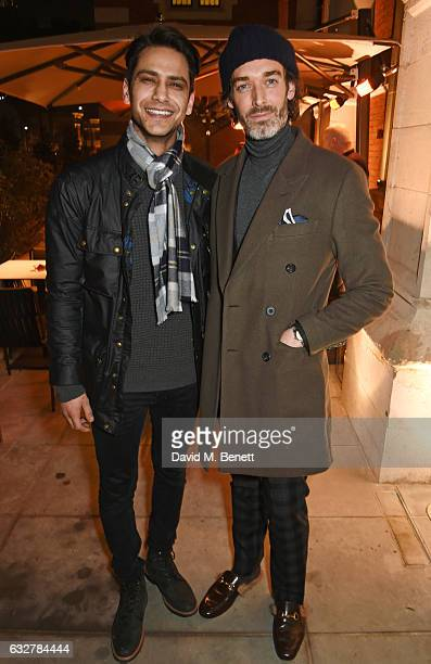 Luke Pasqualino and Richard Biedul attend the launch of new luxury hotel The LaLit London on January 26 2017 in London England