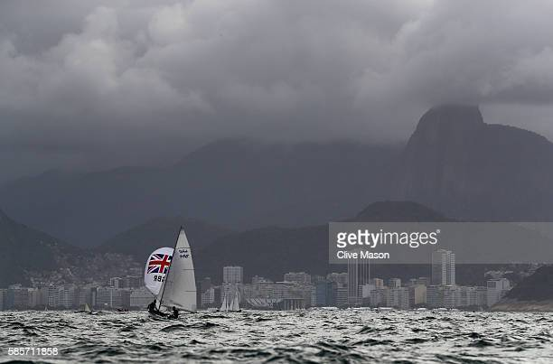 Luke Patience and Chris Grube of Great Britain in action in their 470 class dinghy during training ahead of the Rio 2016 Olympic Games at the Marina...