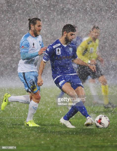 Luke Pavlou of South Melbourne kicks the ball during the FFA Cup Semi Final match between South Melbourne FC and Sydney FC at Lakeside Stadium on...