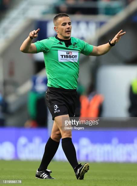 Luke Pearce, the referee during the Heineken Champions Cup Final match between La Rochelle and Toulouse at Twickenham Stadium on May 22, 2021 in...