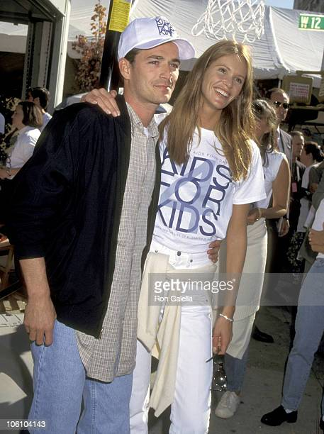 Luke Perry and Elle Macpherson during Kids for Kids Carnival Benefit Elizabeth Glaser Pediatric AIDS Foundation at Industria Superstudio in New York...