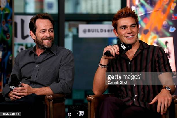 Luke Perry and K J Apa attend the Build Series to discuss Riverdale at Build Studio on October 8 2018 in New York City