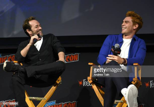 Luke Perry and KJ Apa speak onstage at the Riverdale Sneak Peek and QA during New York Comic Con at The Hulu Theater at Madison Square Garden on...