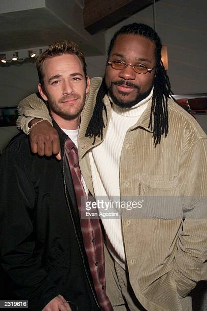 Luke Perry and MalcolmJamal Warner costars in the new series Jeremiah at Showtime's Annual Programing Preview Luncheon at the Blue Fin / W Hotel in...