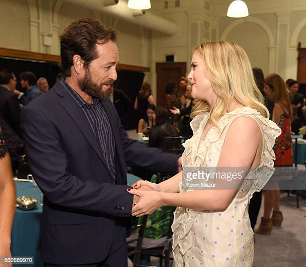 Luke Perry and Rose McIver backstage before The CW Network's 2016 Upfront at New York City Center on May 19 2016 in New York City